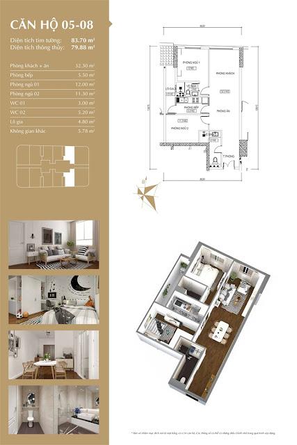 Thiết kế căn hộ 05-08 tòa IP1, diện tích 79m2, 2 phòng ngủ