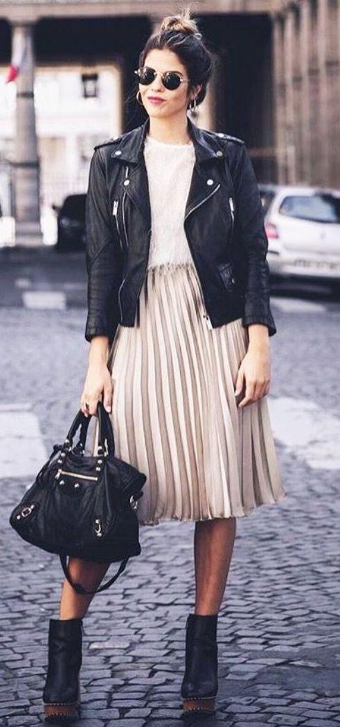 ootd_midi skirt + black biker jacket + bag + tee + boots