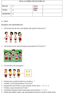 Contoh Soal Kelas 1 Kurikulum 2013 Revisi 2017 dan Kunci Jawaban