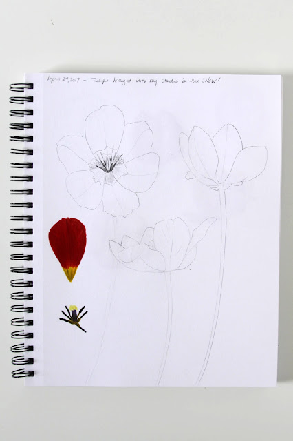 sketchbook, markers, pencil, sketches, sketching, drawing, tulips, Anne Butera, My Giant Strawberry