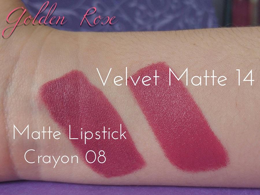 Golden Rose & Cookie's Makeup : Swatches Matte Lipstick Crayon 08 et Velvet Matte Lipstick 14