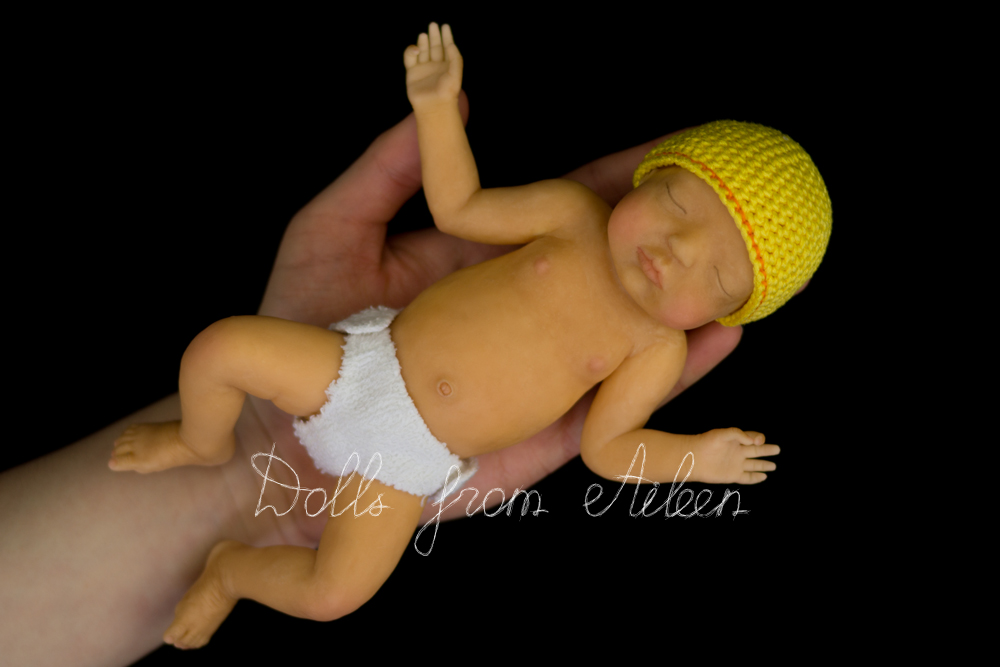 ooak anatomically correct baby boy doll sleeping on human hand