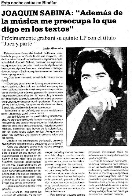 Joaquín Sabina en Binéfar - 14 de Septiembre de 1984