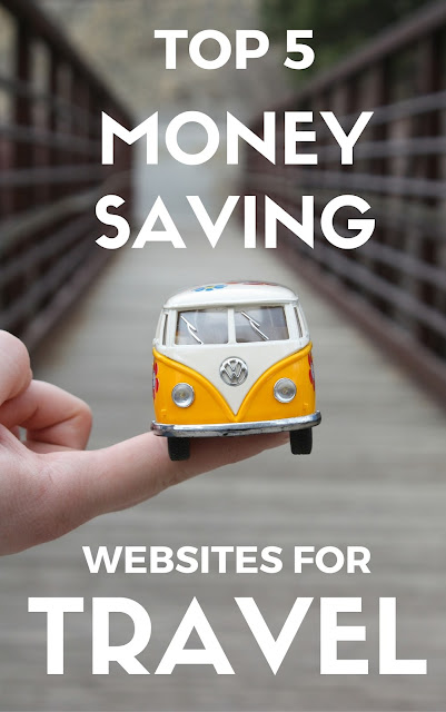 Title Card: Top 5 money saving websites for travel. Yellow van in front of bridge