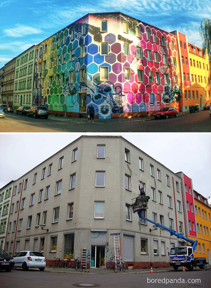 10+ Incredible Before & After Street Art Transformations That'll Make You Say Wow - Honeycomb Of Life, Germany