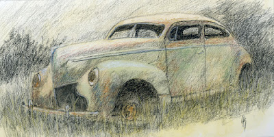 art sketch charcoal car abandoned mercury tudor sedan