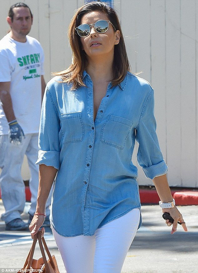 Best Dressed - Eva Longoria In Double Denim  indian fashion blogger, indian fashion blog