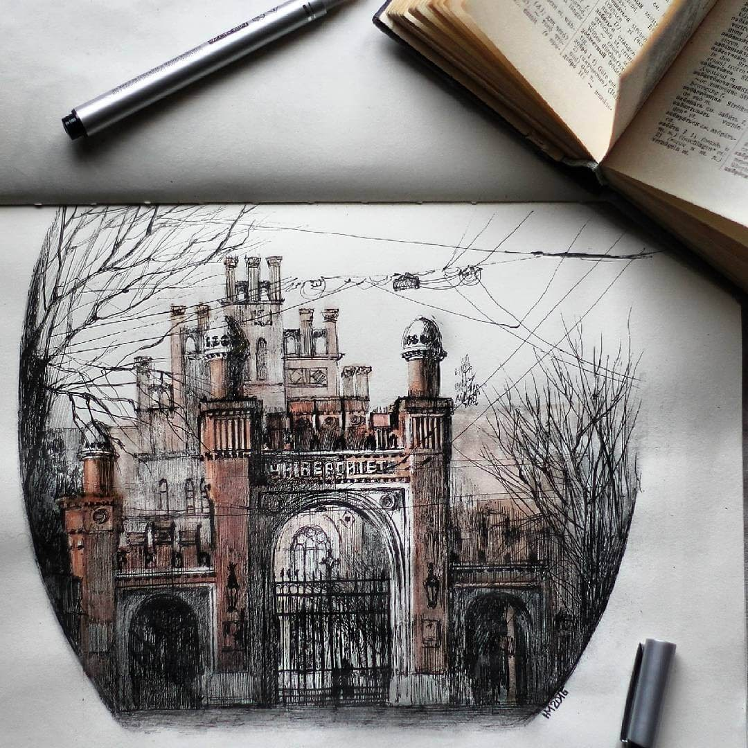 10-The-university-in-Chernivtsi-Martha-Nyrkova-Urban-Sketching-Drawings-and-Paintings-www-designstack-co