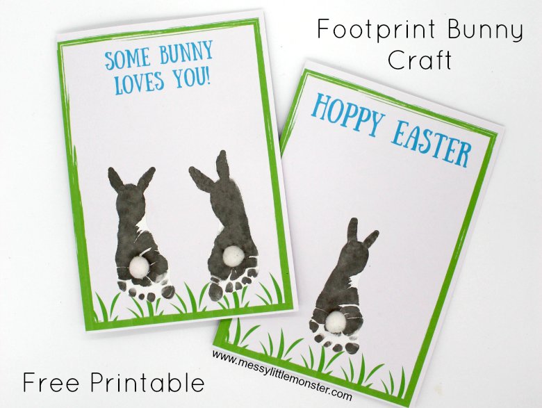 Footprint Easter Bunny Card - An easy craft for babies, toddlers and preschoolers. The free printable template includes the Easter  saying  'Hoppy Easter'. Use inkless handprint and footprint wipes to make an Easter baby keepsake.