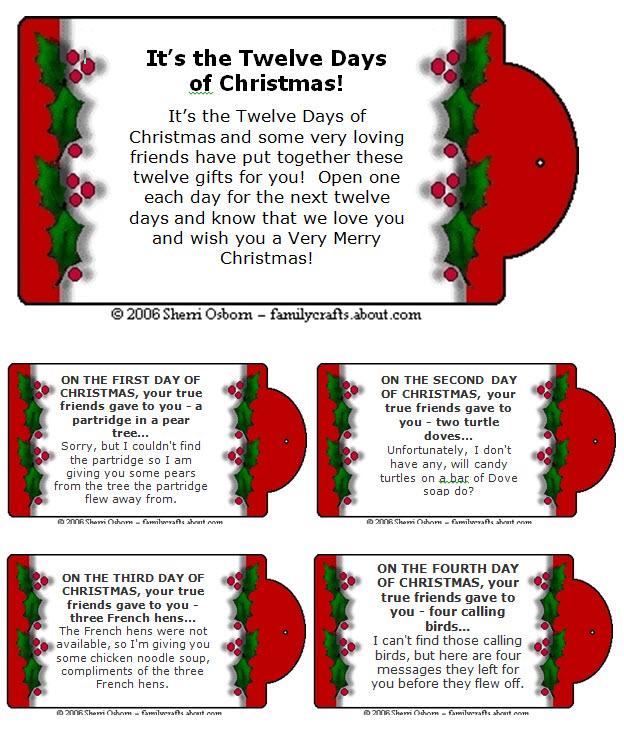 12 days of christmas gift tags