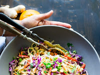 Thainoodle salad with the best ever peanut sauce