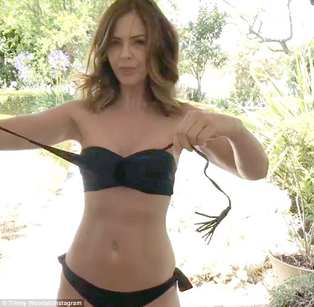 Trinny Woodall Flaunts Her Abs In a Tiny Black Bikini