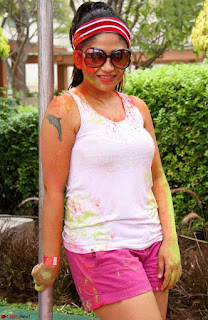 Madhulagna Das Playing Holi Celebrations in white Tank Top 08.jpg