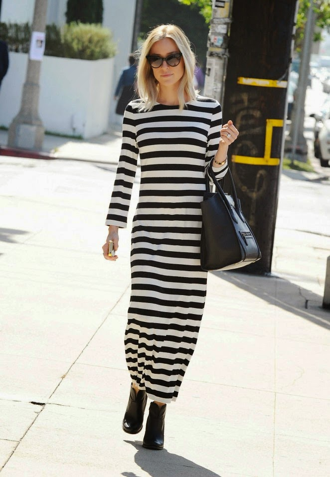 Kristin Cavallari steps out in a monochrome stripped maxi dress in LA