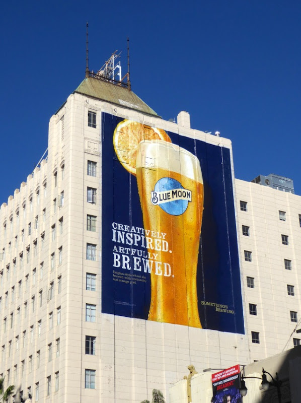 Giant Blue Moon beer billboard