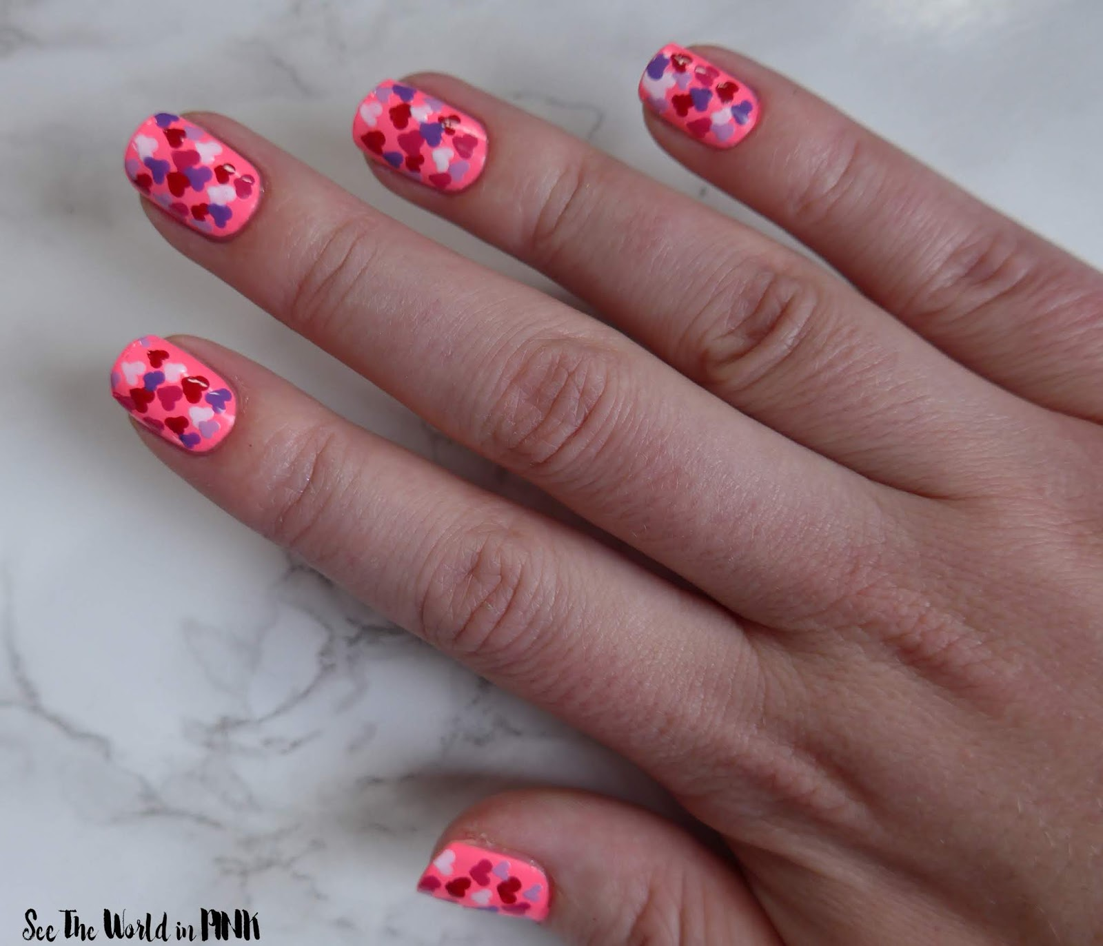 Manicure Monday - Neon Pink Heart Nails