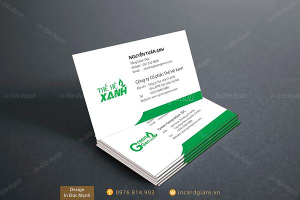 Mẫu Card công ty cổ phần Thế Hệ Xanh