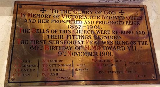 The first peal on on November 9, 1901 following the re-hanging and repair of the bells  Image by the North Mymms History Project, released under Creative Commons BY-NC-SA 4.0