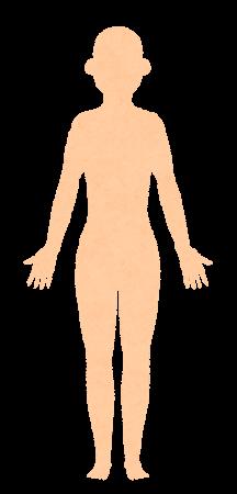 無地の人体のイラスト(女性・正面)