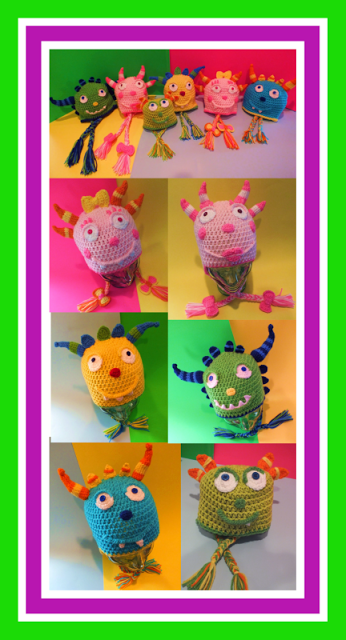 Henry Hugglemonster Inspired Hats Pattern© By Connie Hughes Designs©
