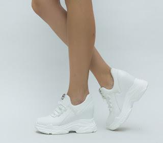 Adidasi de femei albi cu talpa groasa model 2018