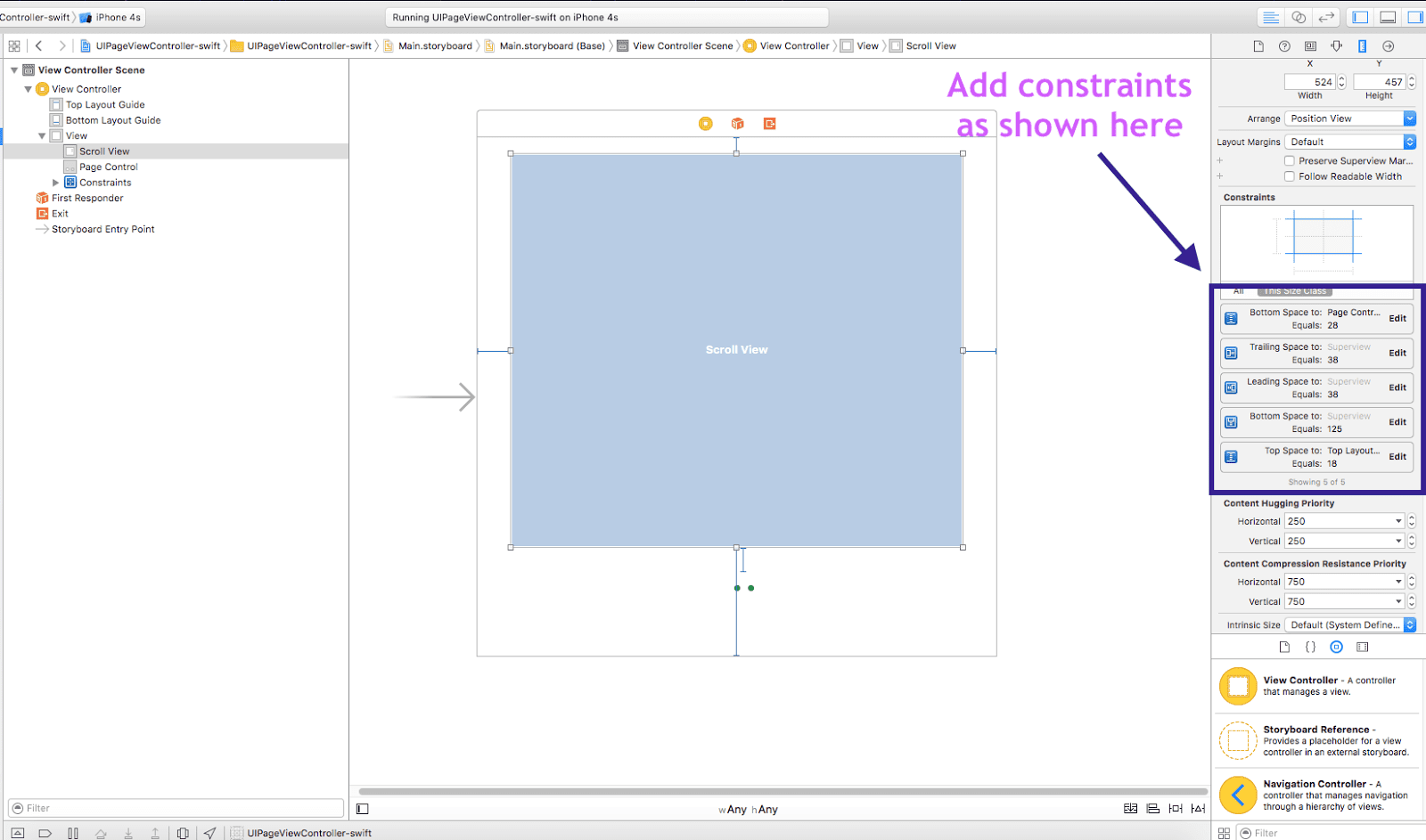 Add constraints to UIScrollView