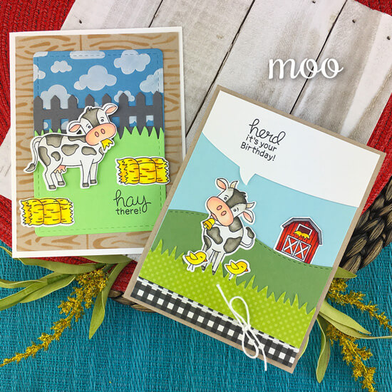 Cow Cards by Jennifer Jackson | Moo Stamp Set, Land Borders Die Set, Speech Bubble Die Set, Hardwood Stencil and Cloudy Sky Stencil by Newton's Nook Designs #newtonsnook #handmade