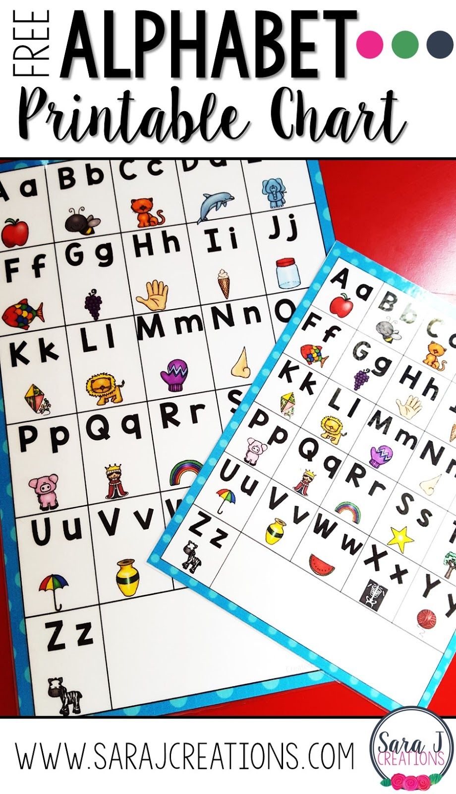photo relating to Free Printable Alphabet Chart known as Alphabet Chart Freebie Sara J Creations