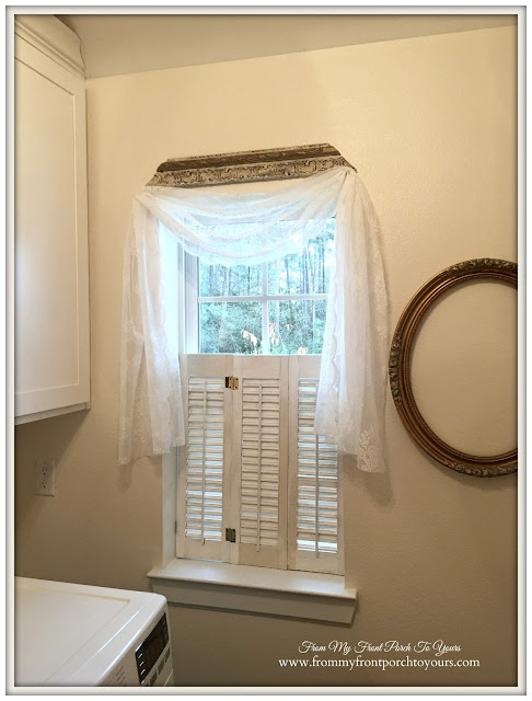 Farmhouse Laundry Room-Lace Curtain-French Farmhouse-From My Front Porch To Yours