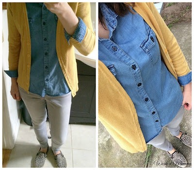 chambray top with mustard cardigan