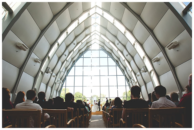 wedding ceremony at Rose Hulman's White Chapel