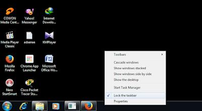 cara merubah letak taskbar, cara merubah letak start menu, cara menggeser posisi startmenu ke samping, cara menggeser startmenu ke atas