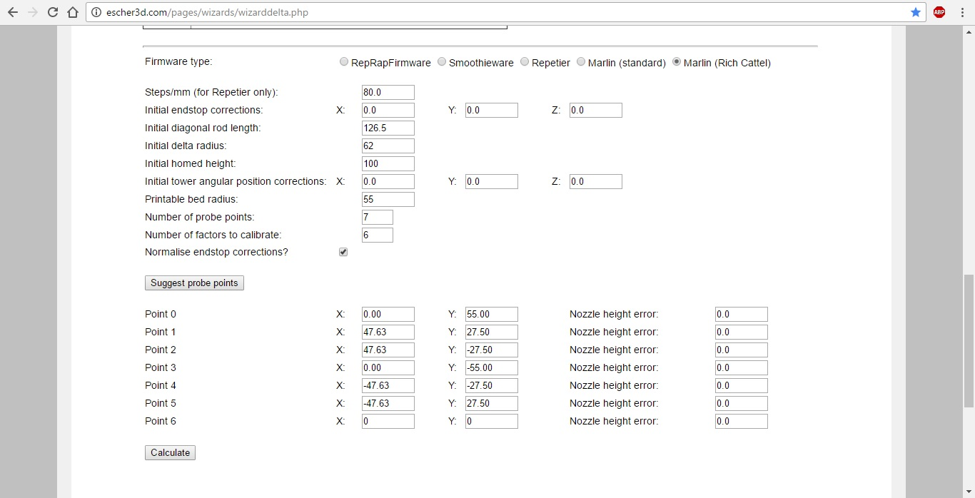 Parameters for the micro kossel entered into the delta wizard