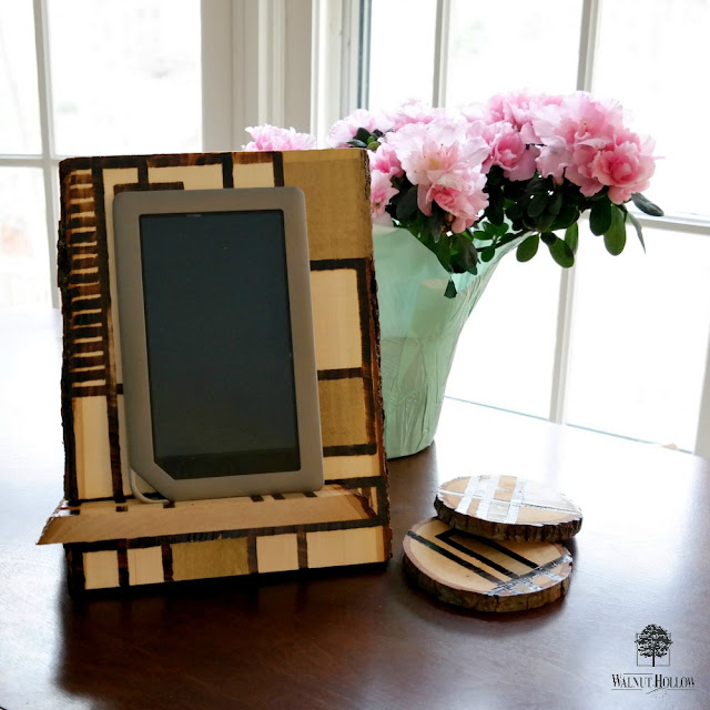 Rustic Glam Wood Burned Slide-Together Tablet Stand Tutorial by Dana Tatar