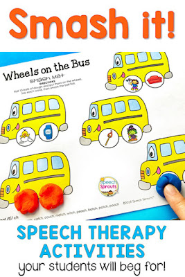 How to keep children busy and engaged with hands-on speech therapy activities like this fun wheels on the bus smash mat. Smash balls of play dough to make the wheels as you name the CVC articulation pictures. www.speechsproutstherapy.com