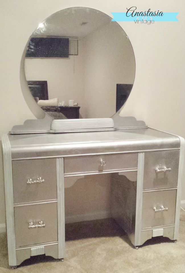 art deco vanity rustoleum metallic finish chrome spray paint