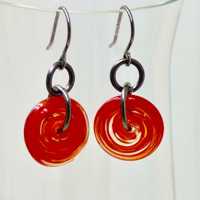 Modern  Red Earrings by BayMoonDesign