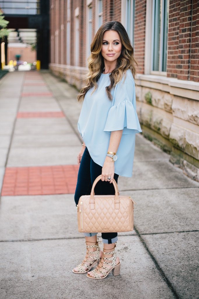 KBStyled: cropped denim dolce vita sandals vera bradley bag