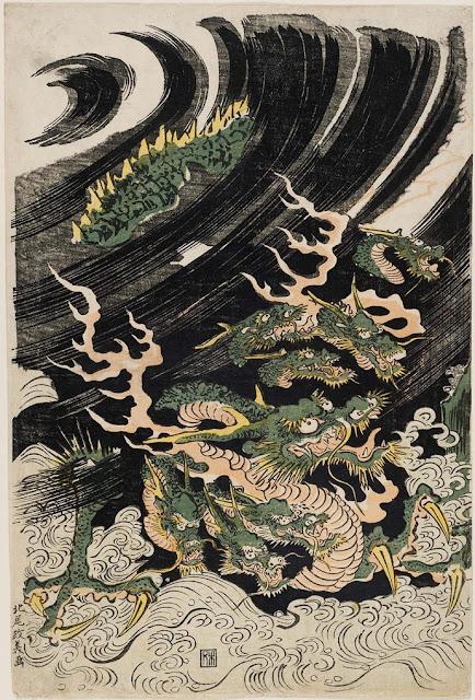 Οκτάφιδο της Ιαπωνίας, έργο του Kitao Masayoshi, όπως περιγράφεται στο Βιβλίο των Φανταστικών Όντων του Μπόρχες