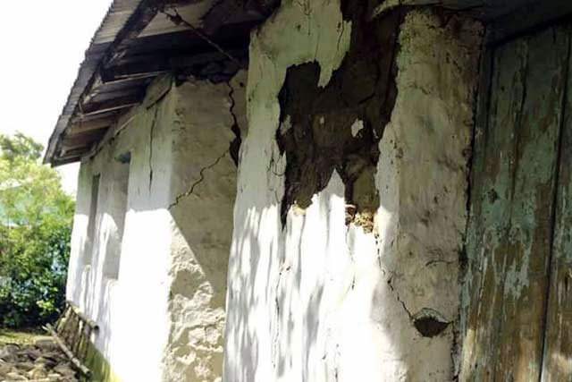 Earthquake affected house in Thurbo and Seeyok tea estates in Mirik