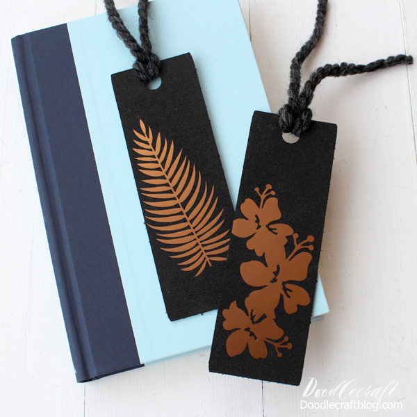 Copper metallic vinyl on black craft foam bookmarks made with the Cricut Maker and knife blade.