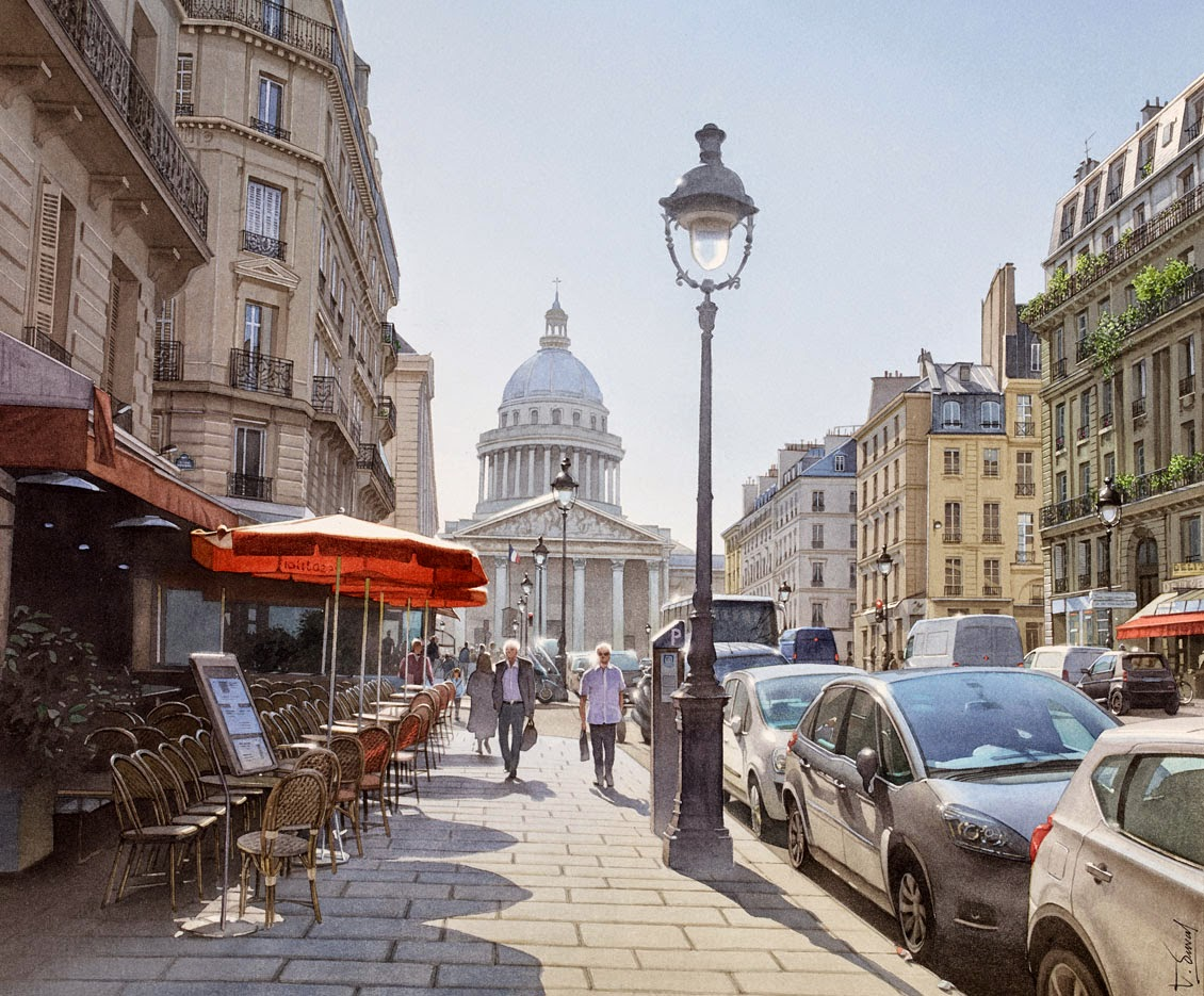 37-Pantheon-Rue-Soufflot-Thierry-Duval-Snippets-of Real-Life-in Watercolor-Paintings-www-designstack-co