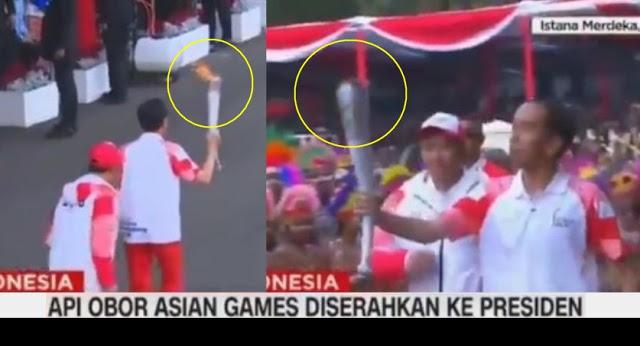 [Video] HEBOHHH.. Api Obor Asian Games Tiba-tiba Padam Saat Dibawa Jokowi