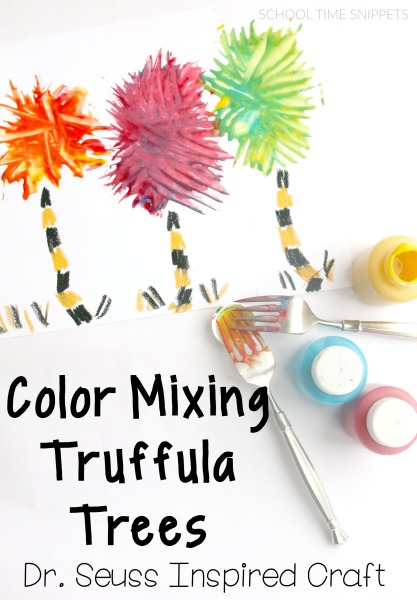 color mixing dr. suess truffula trees art project