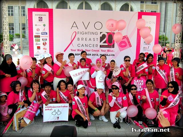 Breast Cancer survivors at the Kiss Goodbye To Breast Cancer Charity Walk By Avon