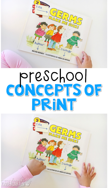 Practice concepts of print with this perfect health themed picture book. Great for tot school, preschool, or even kindergarten