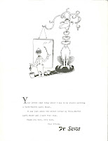 A short, typed letter from Dr. Seuss, accompanied by an illustration of a painter.