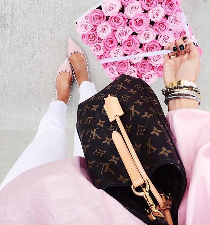 emily gemma instagram, louis vuitton montagne GM, pink valentino flats rockstud, venusetfleur reivew, flowers from Venusetfleur