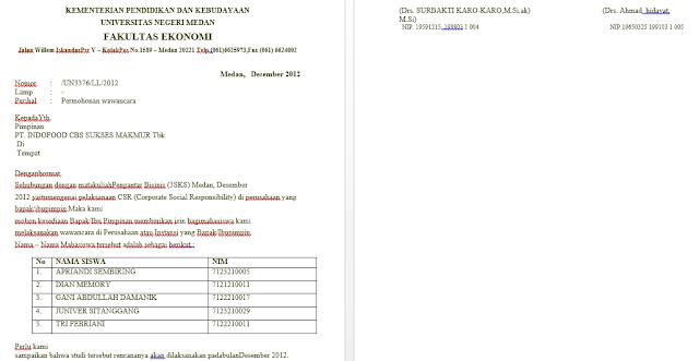 contoh pembuatan surat permohonan izin wawancara perusahaan atau perorangan lengkap terbaru