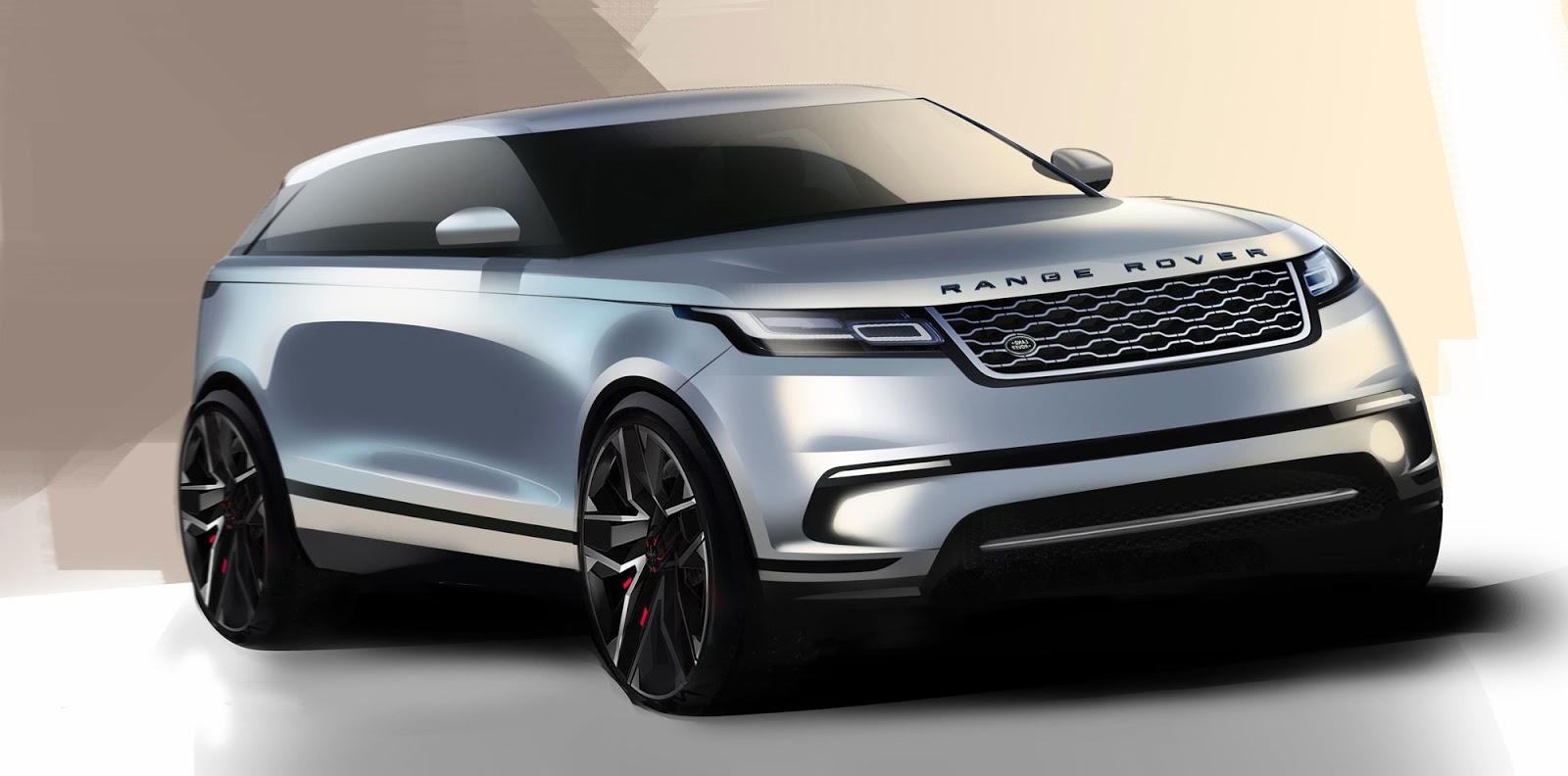 Range Rover Velar sketch front quarter view in blue